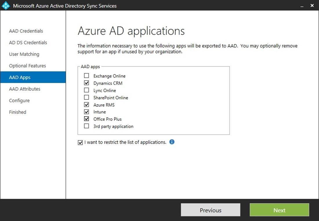 AAD App filter