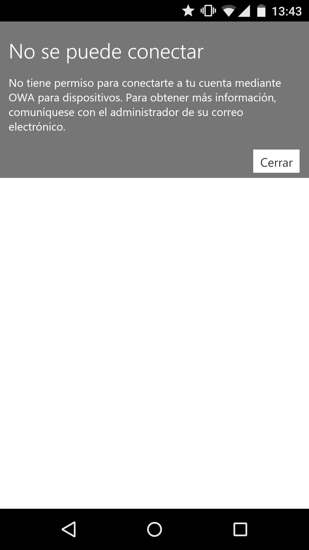 OWA deshabilitado en Android