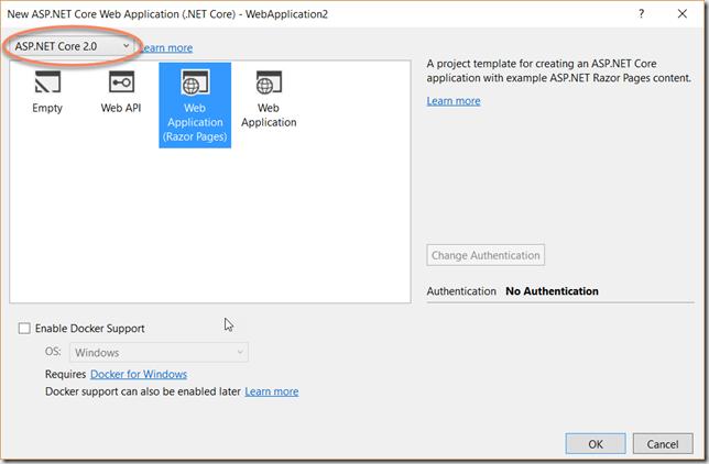Visual Studio mostrando la plantilla de Razor Pages