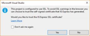 Mensaje de VS pidiendo instalar el certificado