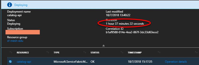 Vista del deployment en el portal de Azure: 1h 37 min y ahí sigue