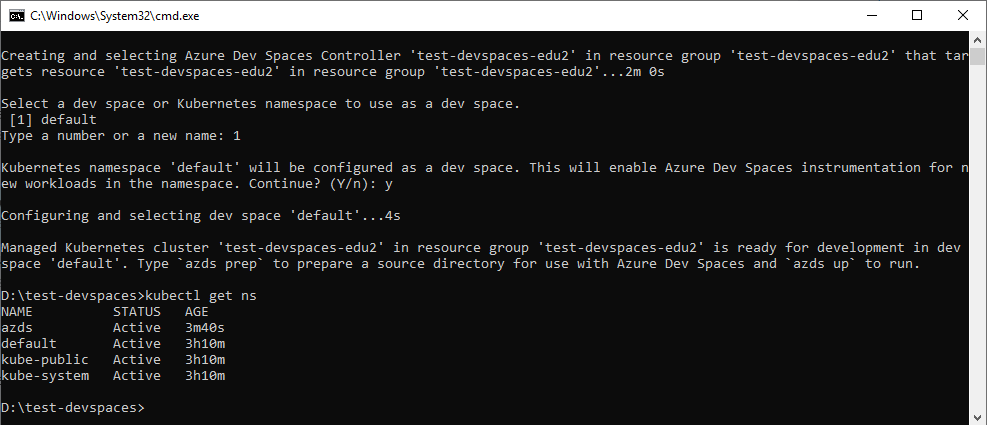 Ejecución del comando az aks use-dev-spaces