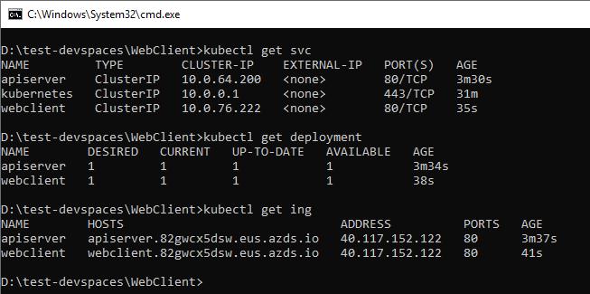 Objetos k8s (servicios, deployments, ingresses) creados