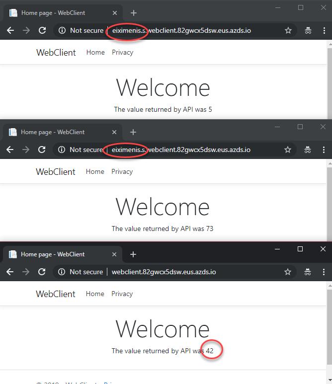 Web llamando a la versión de la API correcta