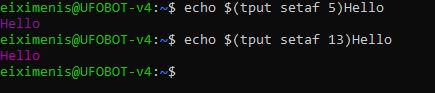"Terminal *NIX donde se muestra texto con ""tput setaf 5"" en morado y luego con ""tput setaf 13"" con morado intenso"