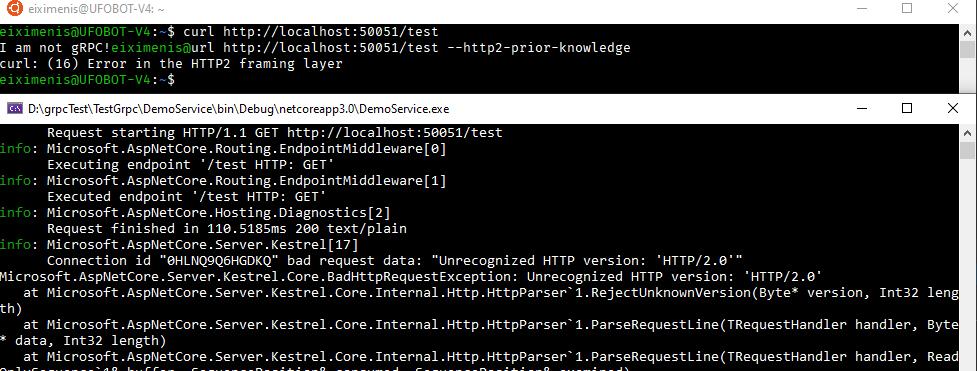 Ahora curl da error al usar --http2-prior-knowledge y aparece una excepción en el servidor (Unrecognized HTTP version: 'HTTP/2.0)