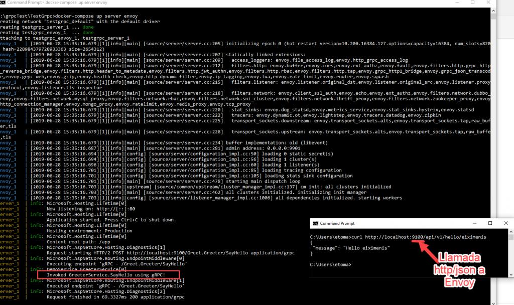 Dos consolas donde en una hay el curl mencionado (con la respuesta en json) y en la otra los logs del servidor, donde se observa como se llama al servicio grpc