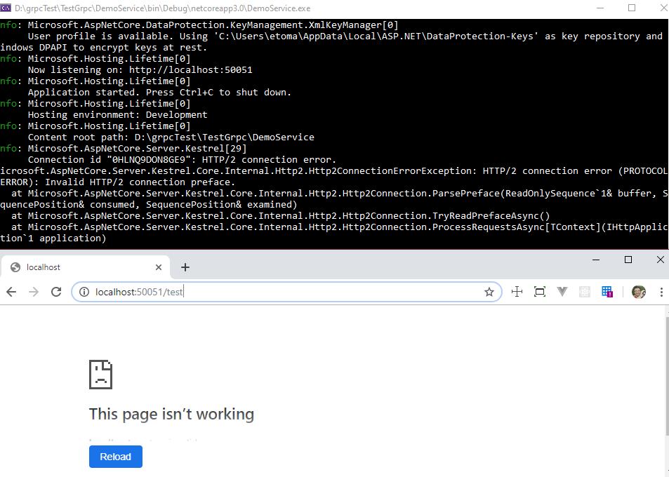Error en el navegador y excepción en el servidor (HTTP/2 connection error)