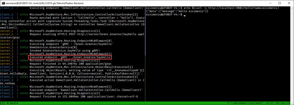 Terminal donde se ve el log del servidor gRPC y como al usar cURL, el cliente llama al sevicio gRPC y aparece el log