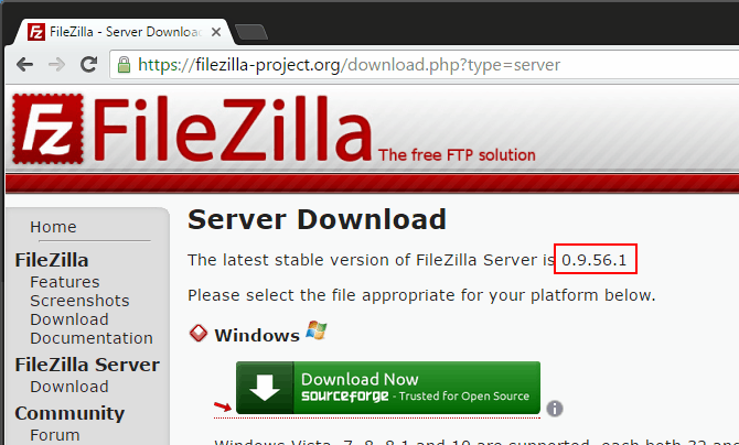 Filezilla-Server-version