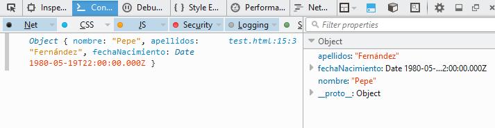 Resultado de un console.log en Firefox