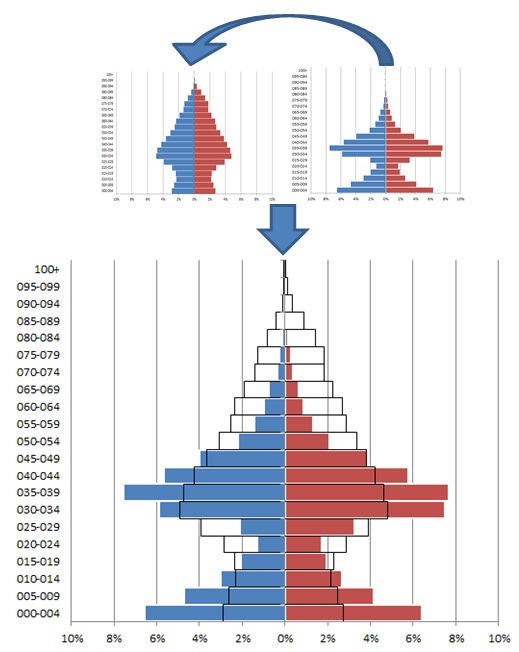 how to create a population pyramid in excel