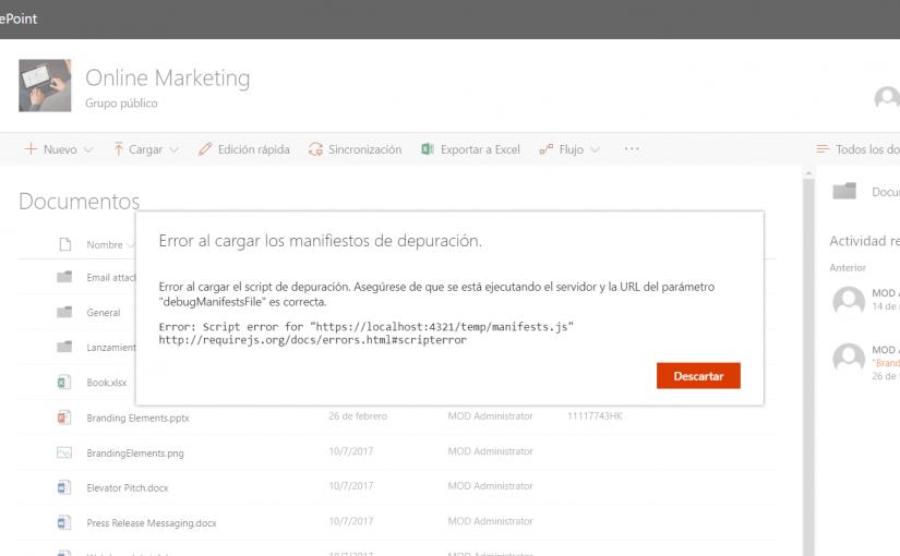 SPFx : Error al cargar el script de depuración