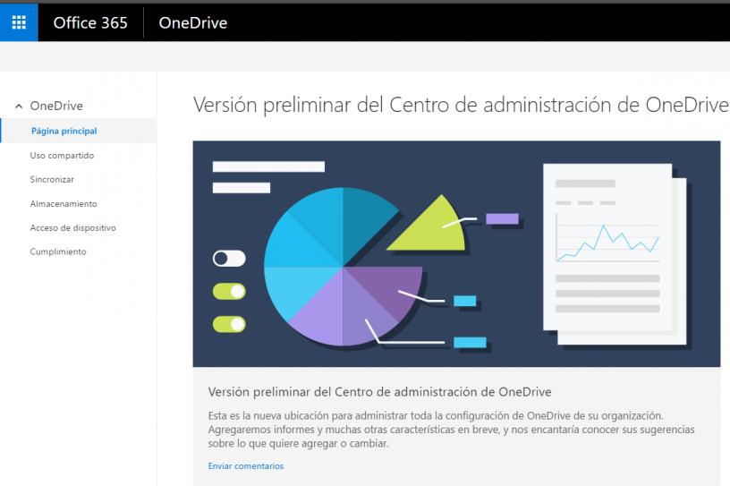 Imagen de home de cómo funcional el nuevo centro de administración de OneDrive