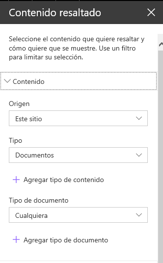 Configuración Highlated Content WebPart