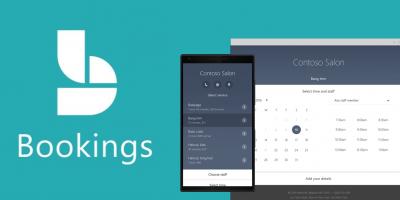 Logo y pantallas de Microsoft Booking