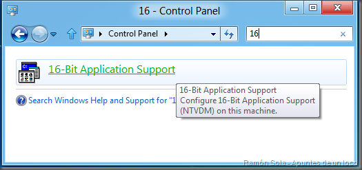 16-Bit Application Support buscando 16 en Panel de control