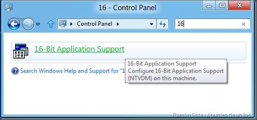16-Bit Application Support buscando 16 en Panel de control