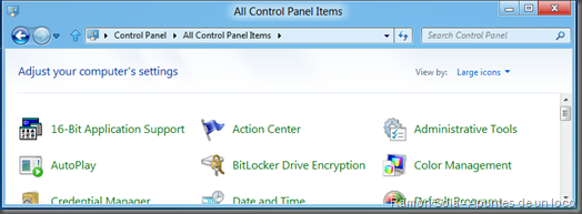 16-Bit Application Support en la vista de iconos del panel de control