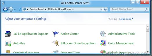 16-Bit Application Support en la vista de iconos del panel de control