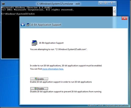 Intentando ejecutar edit.com: ¿habilitar compatibilidad con 16 bits?