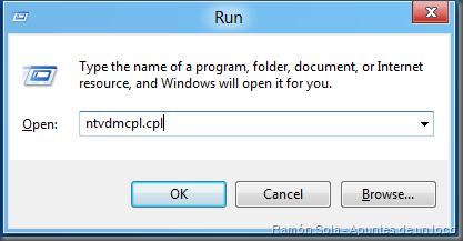 Ejecutar Ntvdmcpl.cpl (Windows+R)