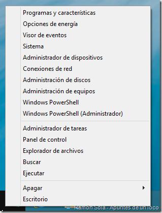 Menú de acceso rápido de Windows 8.1 Preview con las opciones de PowerShell