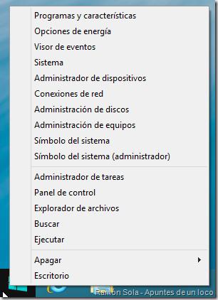 Menú de acceso rápido de Windows 8.1 Preview con las opciones del símbolo del sistema