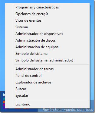 Menú de acceso rápido de Windows 8