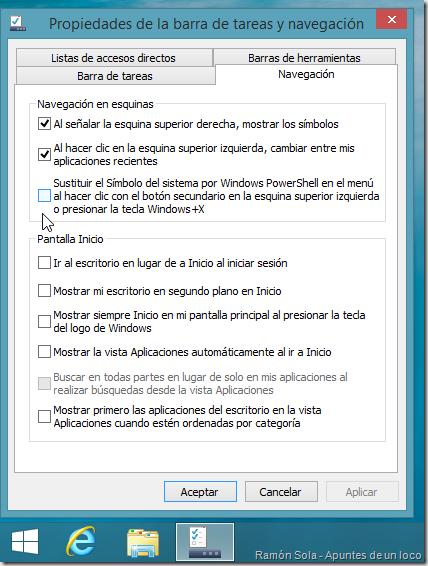 Opción de PowerShell desmarcada en la pestaña Navegación de las propiedades de la barra de tareas