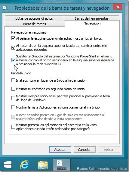 Opción de PowerShell marcada en la pestaña Navegación de las propiedades de la barra de tareas