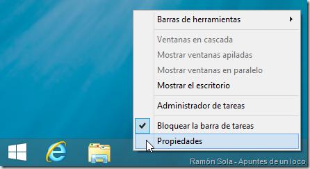 Propiedades de la barra de tareas de Windows 8.1 Preview