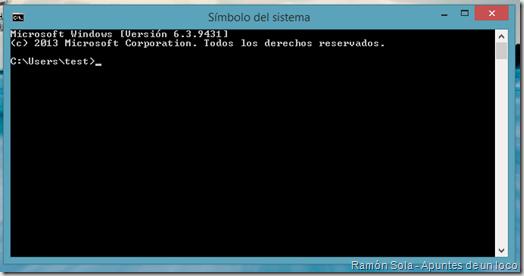 Símbolo del sistema en Windows 8.1 Preview