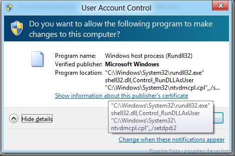 UAC solicita autorización para ejecutar Ntvdmcpl con /setdpd:2