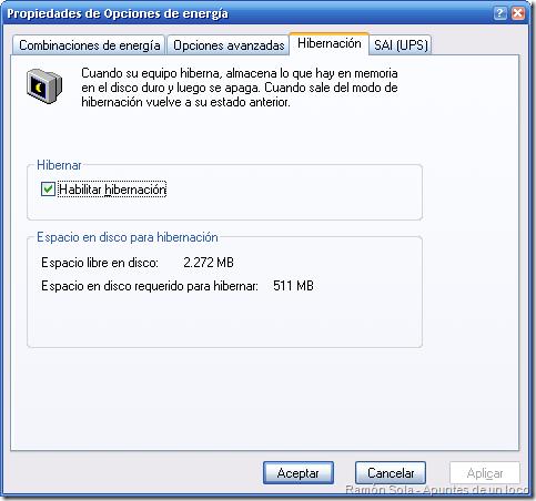 Configuración de la hibernación en las Opciones de energía