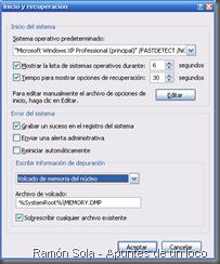 Ventana de inicio y recuperación de Windows XP