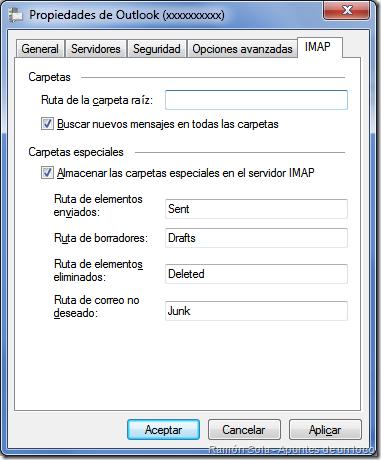 Propiedades de la cuenta de correo: pestaña IMAP