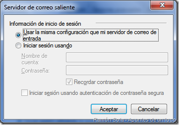 Propiedades de la cuenta de correo: inicio de sesión del servidor de correo saliente