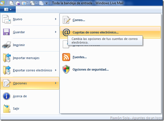 Cuentas de correo electrónico en el menú principal de Windows Live Mail