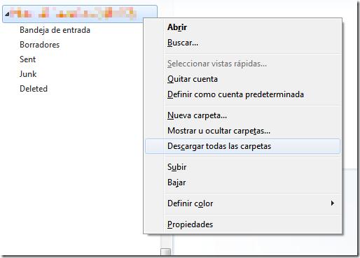 Menú contextual de la cuenta: opción Descargar todas las carpetas