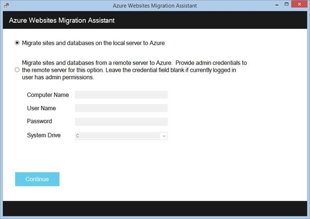 Using the Azure Websites Migration Assistant to migrate a