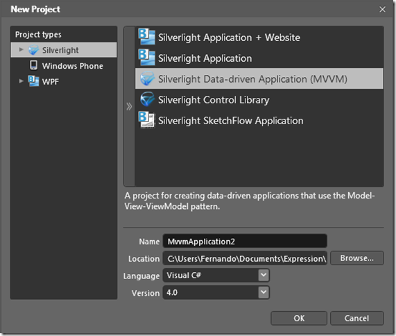 New Silverlight Data-drivne Application