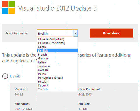 Visual Studio 2012 Update 3 in any language!