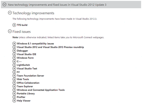 New technology improvements and fixed issues in Visual Studio 2012 Update 3