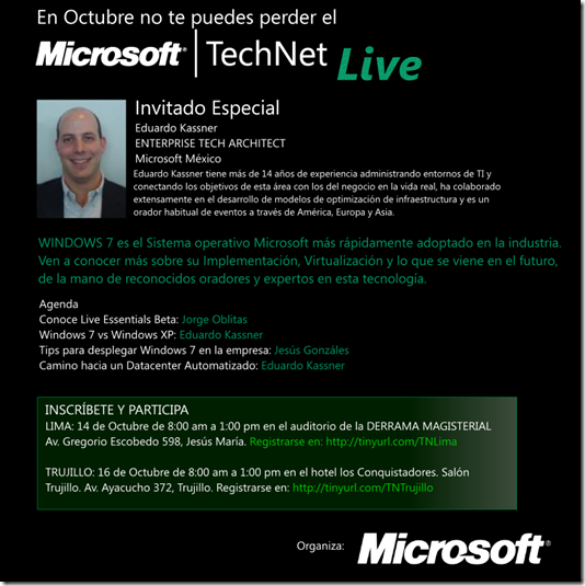 Microsoft TechNet Live 2010 - Lima 14 Octubre