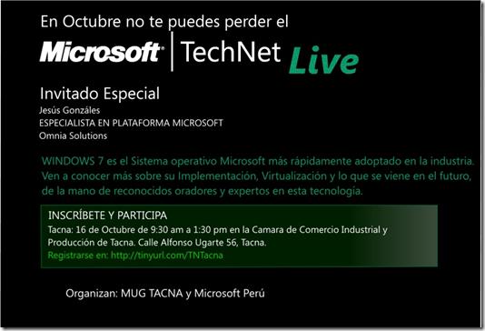Microsoft TechNet Live 2010 - Tacna 16 Octubre