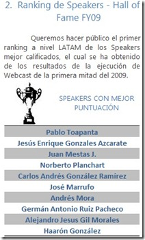 TechNet y MSDN Latam - Ranking Speakers FY09