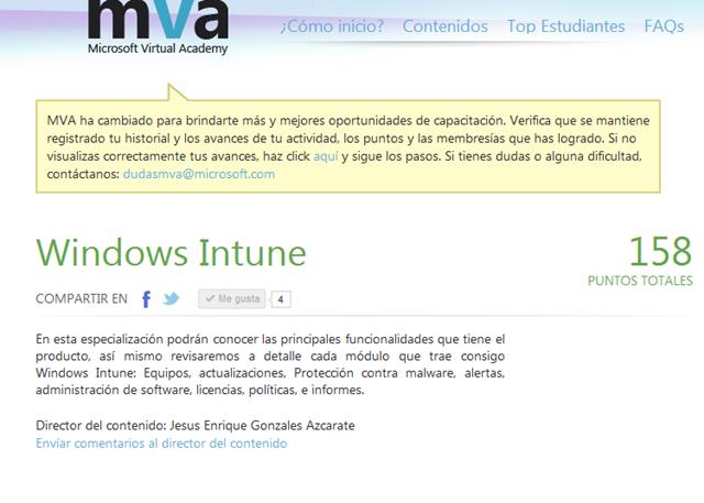 Microsoft Virtual Academy] Carrera de Windows Intune al aire