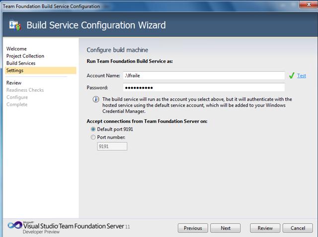 Configuración cuenta de servicio Team Build 11