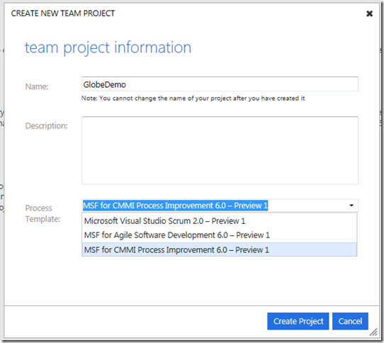 Creación de proyecto Team Foundation Server Service Preview